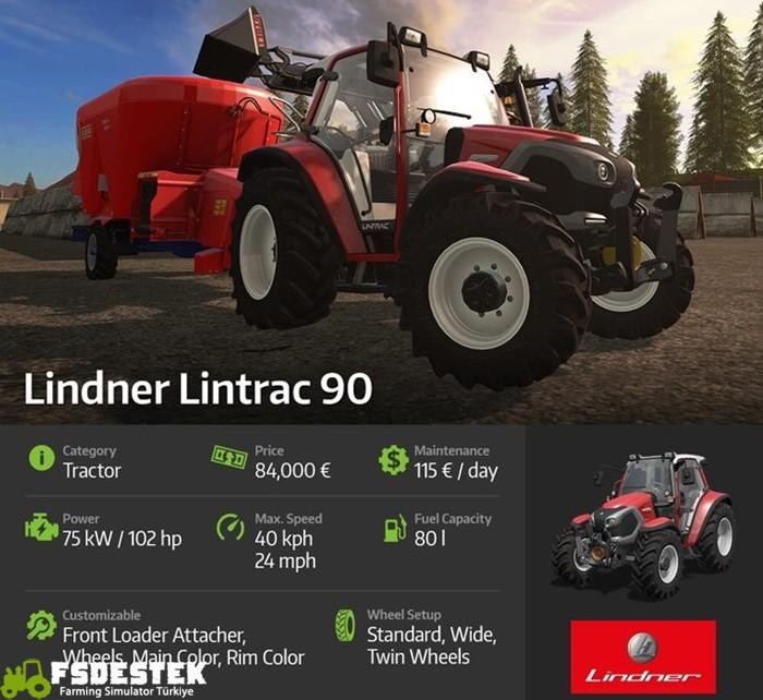 Photo of FS17 Lindner Lintrac 90 Traktör Ayrıntıları