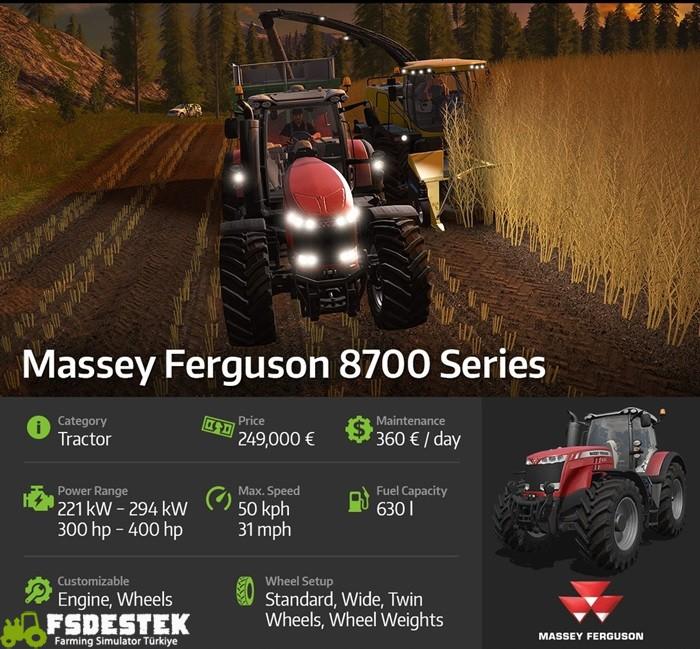 Photo of FS17 – Massey Ferguson 8700 Serisi Traktör Bilgisi